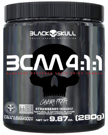 BCAA 4:1:1 (280g) MORANGO – Black Skull