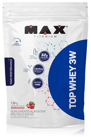 Top Whey 3W + Performance MORANGO (1,8kg REFIL) – Max Titanium