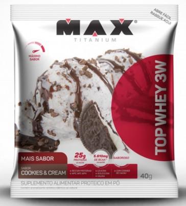 Top Whey 3W + Sabor (Unid-40g) COOKIES & CREAM – Max Titanium