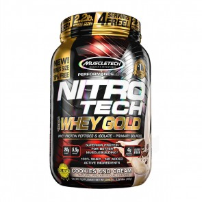 Nitro Tech 100% Whey Gold (2.20lbs) COOKIES & CREAM – Muscletech